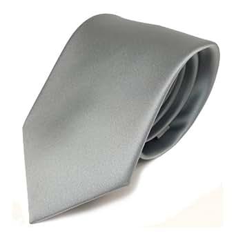TigerTie Designer satin cravate gris gris clair argent unicolor - Polyester
