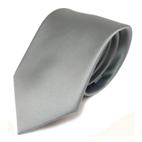 TigerTie Designer Satin Krawatte grau hellgrau silber einfarbig - Polyester
