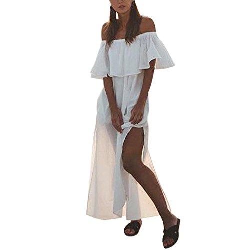 Kleid Damen Retro Schulterfrei Kleid Boho Abendkleid Btruely Trägerlos Sommerkleid Vintage Partykleid Frauen Lange Kleid (S, Weiß)