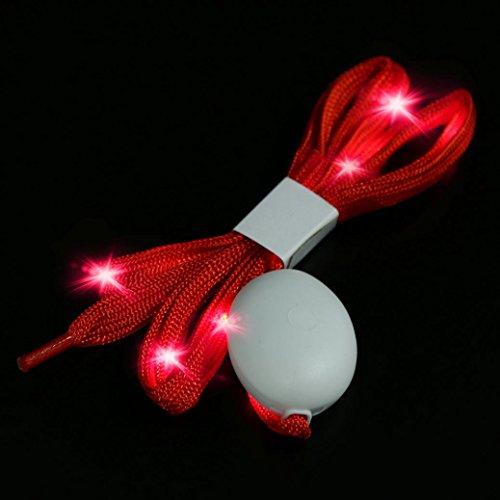 gaddrt LED Schnürsenkel LED Nylon Schnürsenkel Light Up Schnürsenkel mit 3Blinkmodi, rot