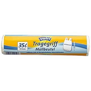 Swirl Tragegriff-Müllbeutel, 35 Liter, Antibakteriell, 4 Rollen mit je 15 Beuteln, Weiß