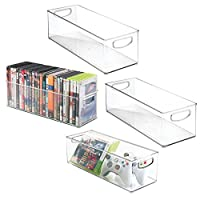 mDesign Set of 4 DVD Storage Container - DVD Holder with Grip - Plastic - DVD Storage Box for DVDs, CDs and Video Games - 40.6 cm X 15.2 cm X 12.7 cm - Clear