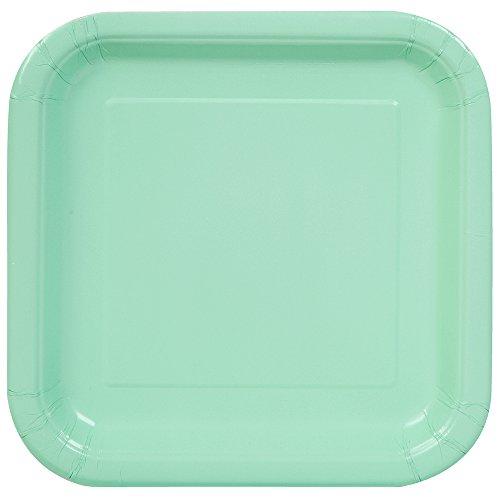 Party Pappteller,18cm, quadratisch,16Stück (Grüne Pappteller Mint)