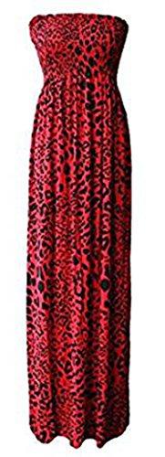 Friendz Trendz - Abiti Maxi stampati a fascia lunga Red Leopard