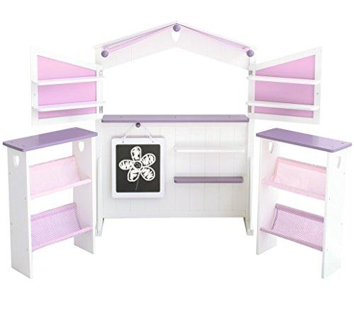 #roba Kaufladen 'Fienchen', Kinder Kaufmannsladen, Holz weiß, rosa, Verkaufsstand mit Theke, Tafel, Seitentheke & Markise#
