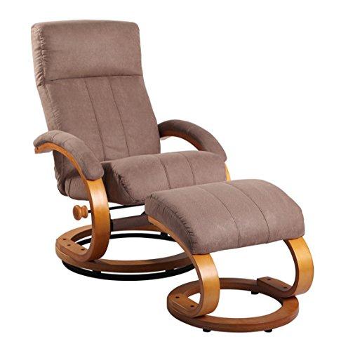 Relax Sessel dunkelbraun/ natur mit Hocker (Dunkelbraun Sessel)
