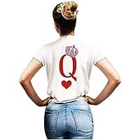 Luckycat Rey Reina Camisas Par T Regalo De Camiseta Los Hombres Y Las Mujeres King Queen con Su Corona Tops Regalo de San Valentín