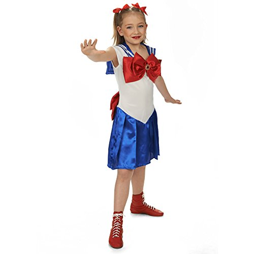 Sailor Girl Kleid Kinder Kostüm blau weiß rot für Sailor Moon Fans - 104 (Blau Tuxedo Kostüme)
