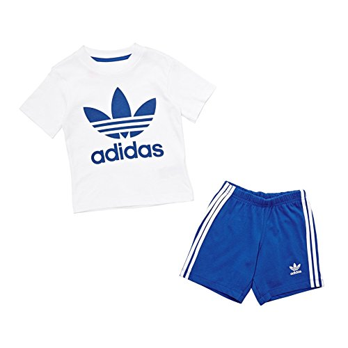 Adidas I TEE SHORT SET–Shirt, Baby, weiß (weiß/blau)