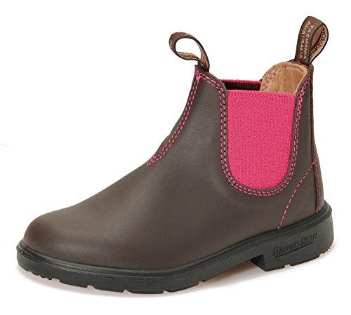 Blundstone Boots Style 1410 für Kinder Blunnies Leder Stiefelette - Brown/Pink + Lederwax von Solitaire (UK 02 / EU 34,5)