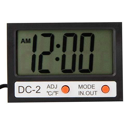 LbojailiAi Tragbare digitale LCD-Anzeige für Innen- / Außenthermometer-Wanduhr mit Sonde