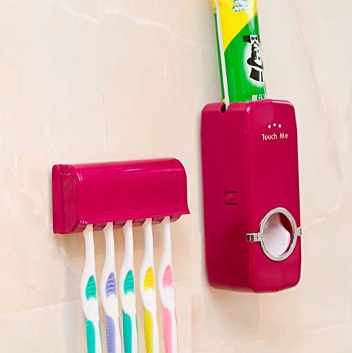 Bobopai Cute Toothbrush Holder with Suction Cup for Bathroom Wall Smile Face Emoji Home Decor (Red)