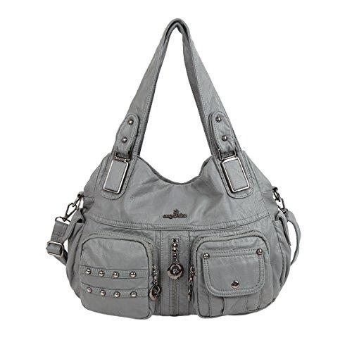 Angelkiss 2 Top Cerniere di chiusura tasche multiple Borse Lavato borse in pelle a tracolla borse XS160738 Grigio