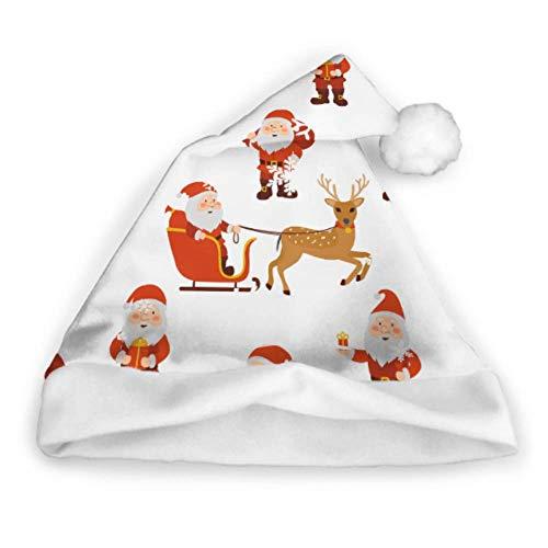 Enhusk Nette Weihnachtsren-Qualitäts-Weihnachtshut-Weihnachtsmannmütze-Lange Erwachsen-Partei-neues (Crazy Santa Kostüm)