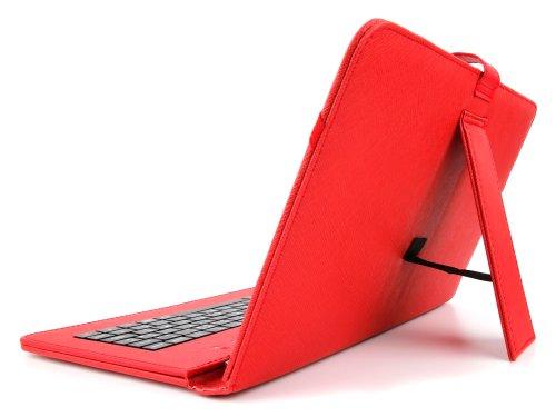 10 Zoll Hülle mit QWERTZ-Tastatur für SAMSUNG Galaxy Tab 4 10.1 (SM-T535) Tablet PCs (ROT)