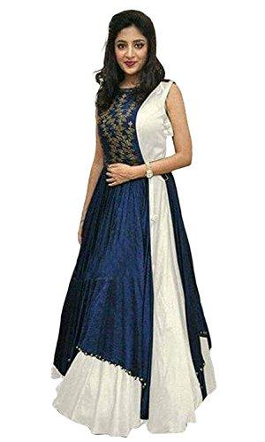 Reeva Women's Tassar Silk Anarkali Dress Material (White_White_Free Size)