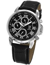 Reloj Negro de Hombre, de Piel, con Números Romanos y Multi-función Día-Fecha y Noche-Día de Konigswerk AQ202575G