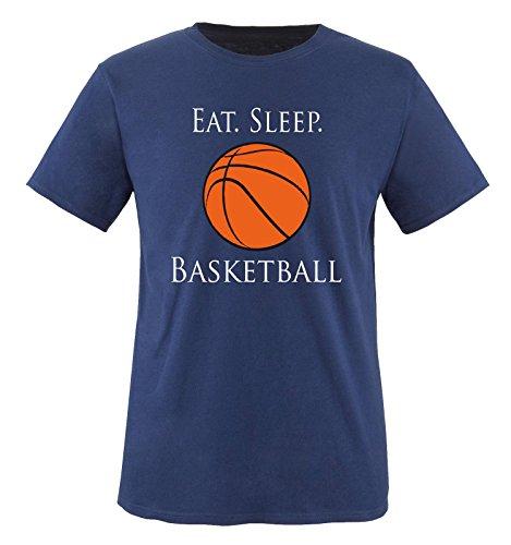 Comedy Shirts - EAT. Sleep. Basketball - Kinder T-Shirt - Navy/Weiss-Schwarz-Orange Gr. 134-146