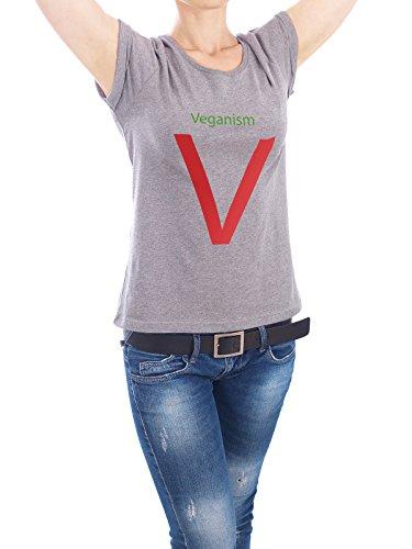 """Design T-Shirt Frauen Earth Positive """"Veganism red"""" - stylisches Shirt Essen & Trinken von Simon Ecker Grau"""