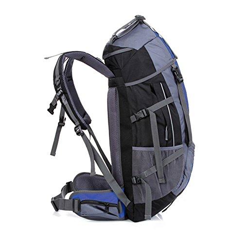 Outdoor Camping Rucksack Wasserdicht 55L Wandern Daypack für Herren Frauen unterwegs Klettern Mountaining Radfahren Sports Rucksack Tasche Blau