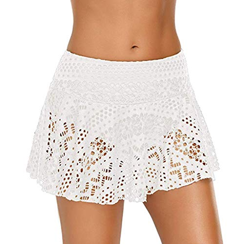 Asalinao Bikini Bottom mit hohem Bund und hoher Taille Geraffter Swim Bottom Ruffle Swim Skirt (Bikini Braun Bottom Taille Hohe)