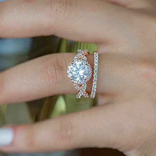 2.15CT VVS1Diamant Ring Verlobungsring 14K Rose Gold Solitaire Hochzeit Ringe Größe P - 53 (16.9) (Gold-emerald-cut-ringe Rose)