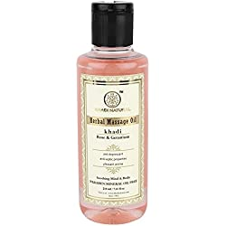 Khadi Rose and Geranium Massage Oil Without Mineral Oil, 210ml