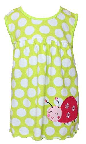 Sommer SALE! Sommerkleid | Shirt-Kleid Pincess Taufkleid Modell 14 grün gepunktet mit Käfer
