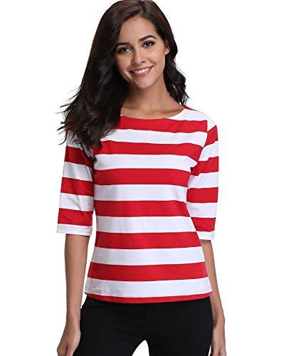 Damen Blusen und Shirts mit kurzen Ärmeln Damen Weiß Tops Gestreift Rot Schöne Mode Streifen Boot Hals Classic Stripes - XL Elbow Sleeve Hoodie