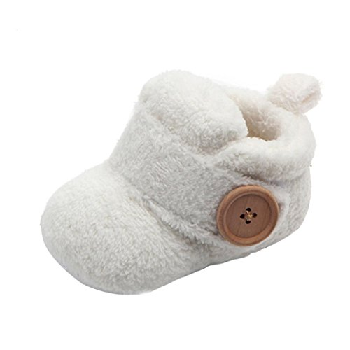 URSING Krippen Kleinkind Schuhe Baby Soft Pantoffeln Schuhe Niedliche Schuhe Casual Schuhe Runde Toe Flats Soft Sole Cotton First Walkers Winter Lovely Boy Girl Laufschuhe (12, Weiß) -