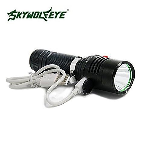 Taschenlampe Oyedens Super Helles Lautes Summen 5 Modus Cree Xm-L2 T6 LED USB-Nachladbare Taschenlampe