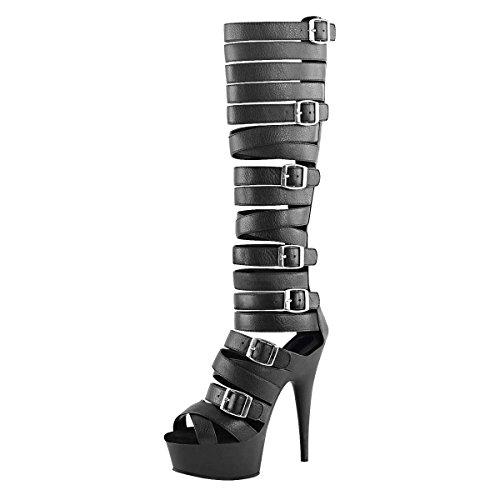 Gladiator High Heels, Damen, Schwarz (schwarz) Schwarz (Schwarz)