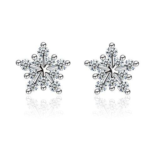 GUIJI Orecchini a Bottone da Donna con Gioiello a forma di Fiocco di Neve Placcato d'Argento