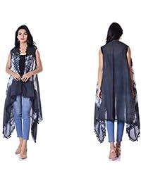 HANDICRAFT-PALACE Women's Western Wear Shrug Shibori Sleeveless Kimono
