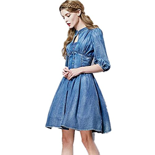 SHISHANG Women 's Cowboy Kleid European Style Retro-Bügel-Weste-Rock-Rock-Sommer-Denim Baumwolle Blau Blue