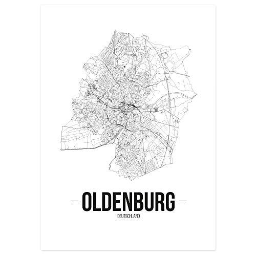 JUNIWORDS Stadtposter - Wähle Deine Stadt - Oldenburg - 60 x 90 cm - Schrift B - Weiß