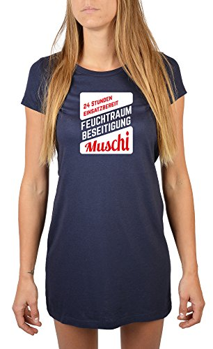 Langes Damen Nachthemd Schlaf T-Shirt Motiv-Nacht-Shirts Ostergeschenk Muttertagsgeschenk blau-04