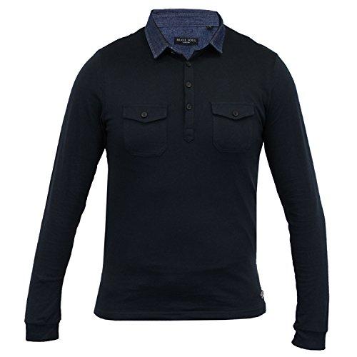 Herren langärmlig Jersey Oberteil Brave Soul Polo Shirt einfarbig Kragen Baumwolle marineblau - 69gospel
