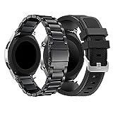 YaYuu Samsung Galaxy 46mm/Gear S3 Frontier/Classic Bracelets de Montre, 22mm Bande de Remplacement en Acier Inoxydable Métal+Silicium Sangle pour Moto 360 2nd 46mm Smart Watch(Métal+Silicium)