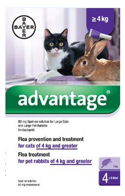 Advantage 80mg Spot-On Solution for Large Cats and Pet Rabbits (over 4kg)