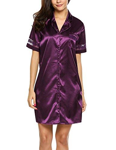 HOTOUCH Damen Nachthemd Sleepshirt Satin Negligee Casual Loose Nachtwäsche Kurzarm Knielang Lila XL (Satin-sleepshirt)