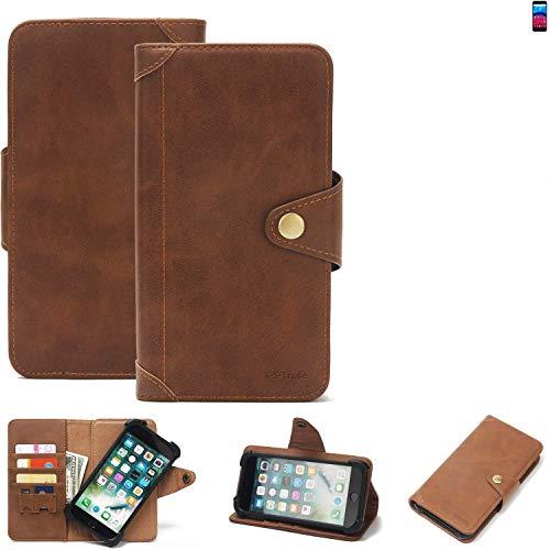 K-S-Trade Handy Hülle für Archos Core 60S Schutzhülle Walletcase Bookstyle Tasche Handyhülle Schutz Case Handytasche Wallet Flipcase Cover PU Braun (1x)