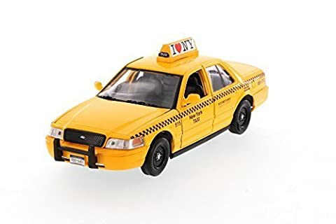 Showcasts I Love New York 2010 Ford Crown Victoria ILNY Taxi Cab 1/24 Scale Diecast Model Car Yellow by