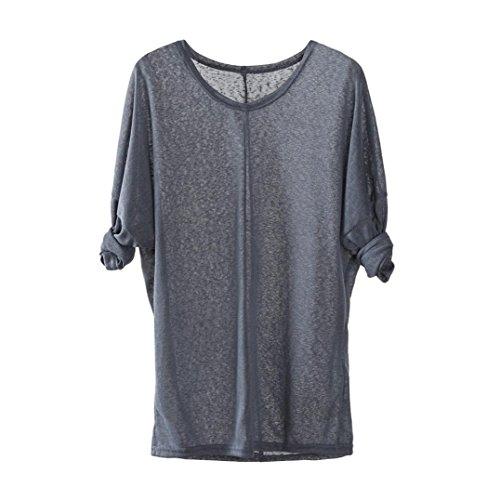 (JUTOO Frauen Stricken Pullover V-Ausschnitt Lose Beiläufige Bluse Tops(Grau,EU:50/CN:3XL))