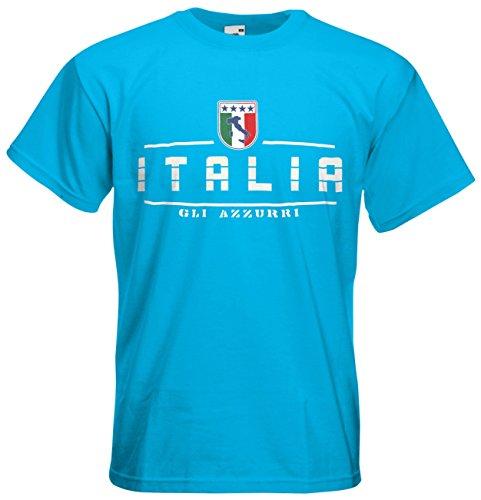 Italien Italia Fanshirt T-Shirt Länder-Shirt im modernen Look Azurblau