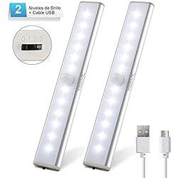 Yissvic Luz Nocturna Luz Armario LED USB Recargable Sensor de Movimiento Magnético Inalámbrico para Pasillo Baño Armario Cocina Blanco Frío