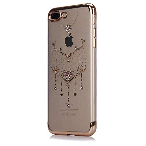 Custodia iPhone 7 Plus, iPhone 7 Plus Cover Silicone, SainCat Cover per iPhone 7 Plus Custodia Silicone Morbido, Custodia Bling Glitter Strass Diamante Silicone 3D Design Ultra Slim Silicone Case Ultr Collana in Pizzo #1