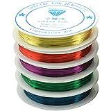 Vosarea 5 Rollos de Colores Surtidos 0.5mm Alambre de Cobre Flexible artística Jewely Alambre Rebordear