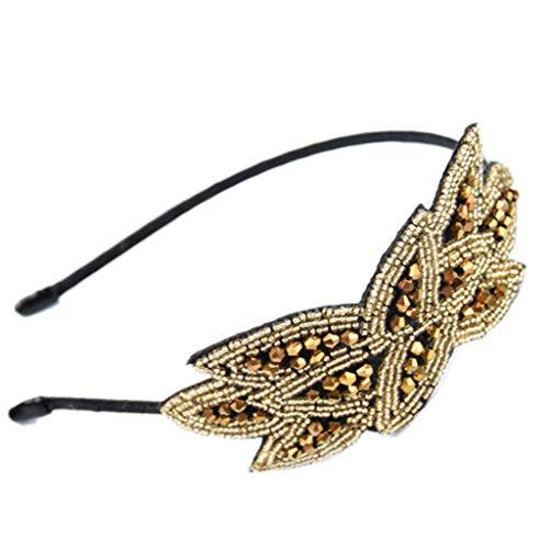 n inspiriert Metalllegierung Stirnband Perlen Flapper Faux Kristall Blattform Haar Hoop Glitter Pailletten Hochzeit Party Kopfbedeckungen - 7# ()