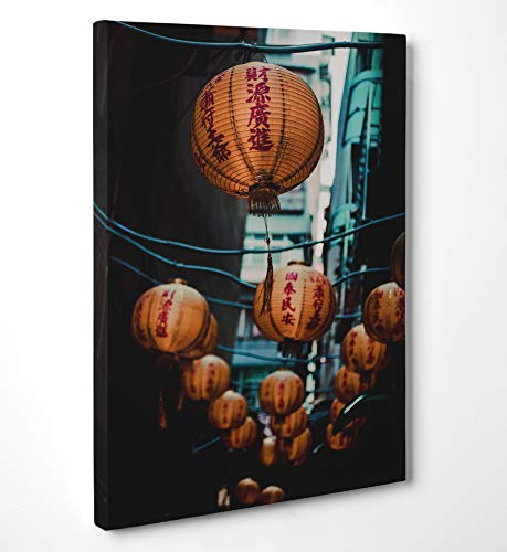 LaMAGLIERIA FINE Art - Leinwanddruck Chinese Paper Lanterns Hanging On Strings Cod Uns44 zum aufhängen - 2 cm starker Rahmen, 70cmx100cm (Paper Chinese Lantern)